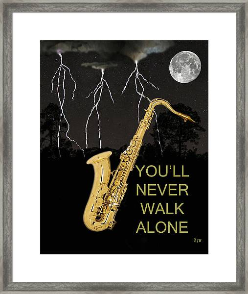 Framed Print featuring the mixed media Sax Youll Never Walk Alone by Eric Kempson