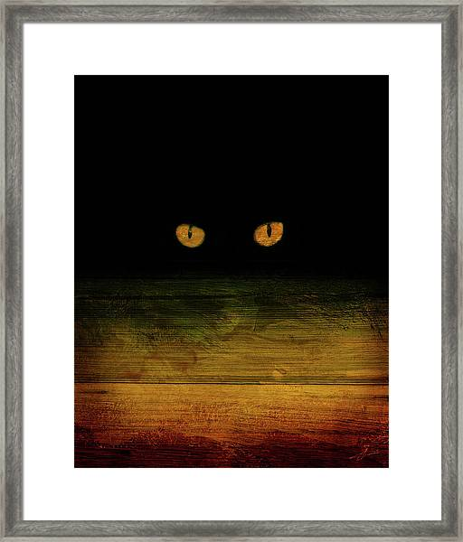 Framed Print featuring the mixed media Scare-d-cat by Shevon Johnson