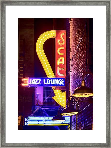 Scat Jazz Neon V3 Framed Print