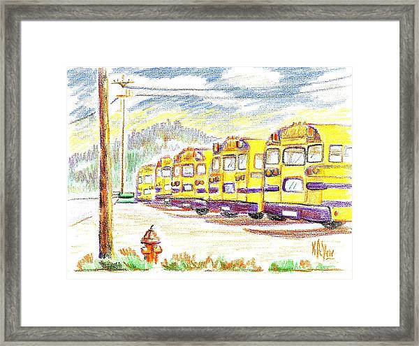 School Bussiness Framed Print