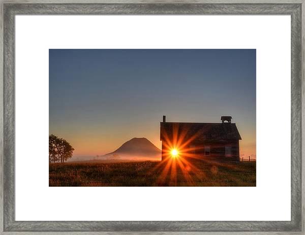 Schoolhouse Sunburst Framed Print