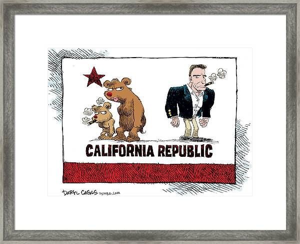Schwarzenegger Love Child Flag Framed Print