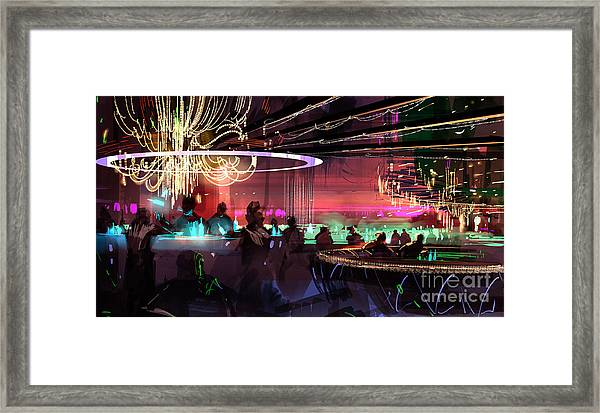 Framed Print featuring the painting Sci-fi Lounge by Tithi Luadthong