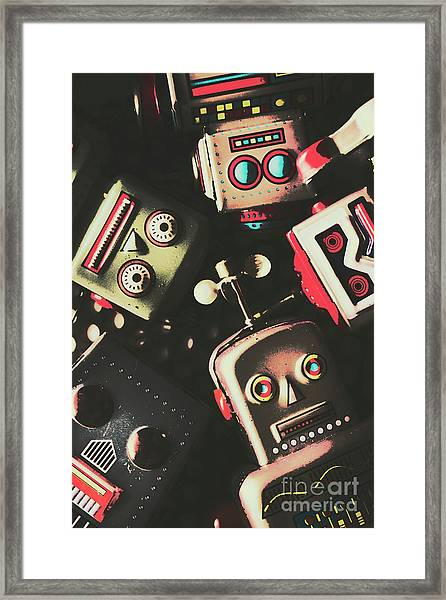 Science Fiction Robotic Faces Framed Print
