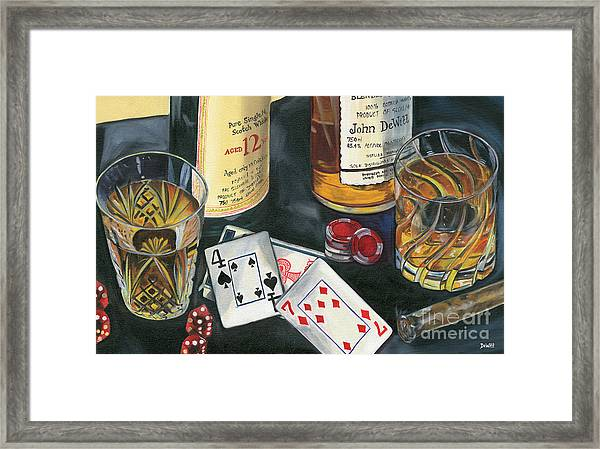 Scotch Cigars And Cards Framed Print