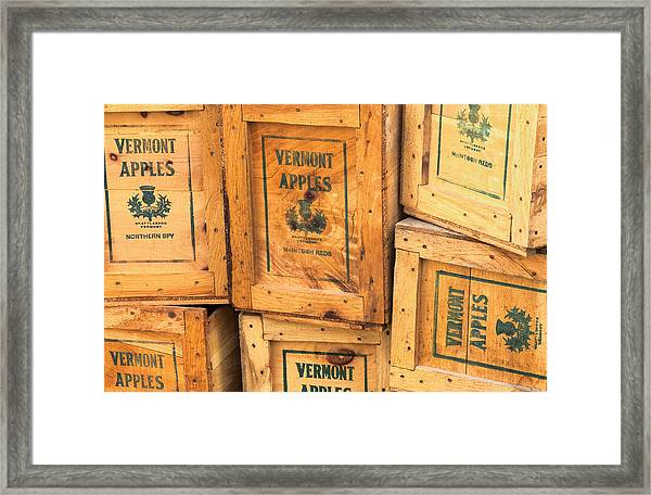 Scott Farm Apple Boxes Framed Print