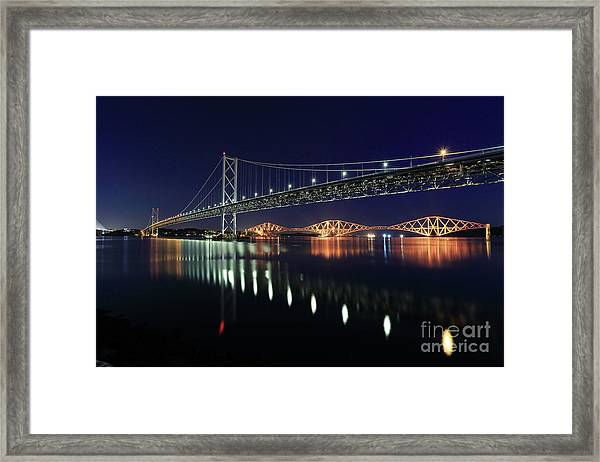 Scottish Steel In Silver And Gold Lights Across The Firth Of Forth At Night Framed Print