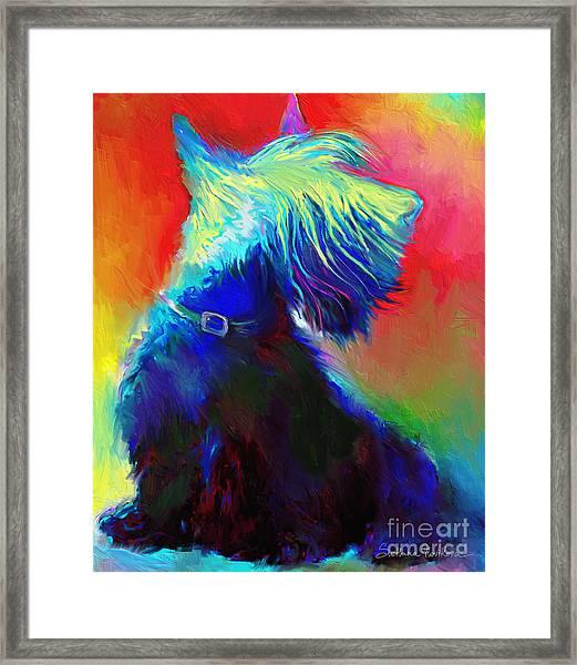 Scottish Terrier Dog Painting Framed Print