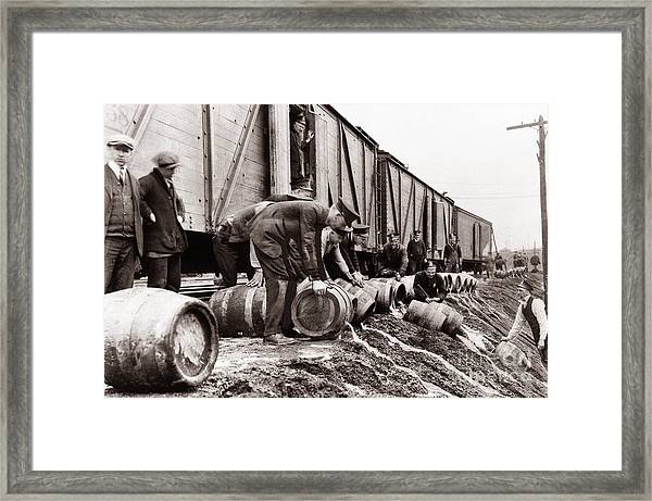 Scranton Police Dumping Beer During Prohibition  Scranton Pa 1920 To 1933 Framed Print