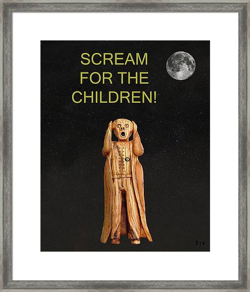Framed Print featuring the mixed media Scream For The Children by Eric Kempson