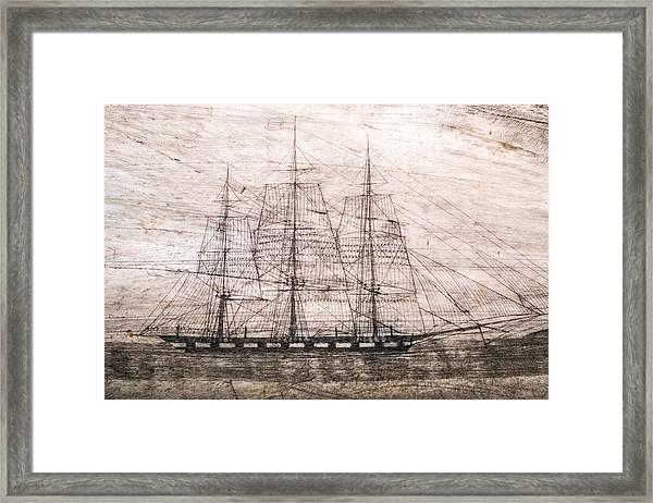 Scrimshaw Whale Panbone Framed Print