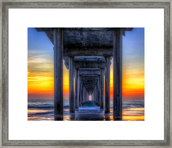 Scripp's Pier Sunset La Jolla California Framed Print