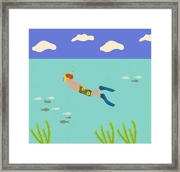 Scuba Boy Framed Print
