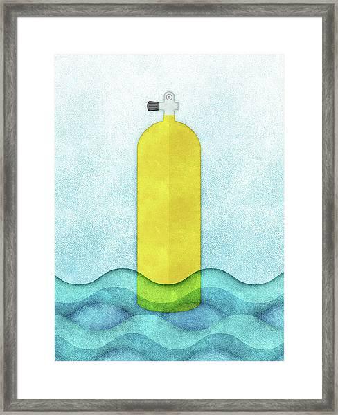 Scuba Diving - Yellow Tank On Blue Framed Print