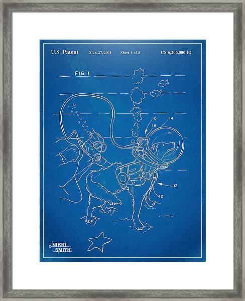 Scuba Doggie Patent Artwork 1893 Framed Print
