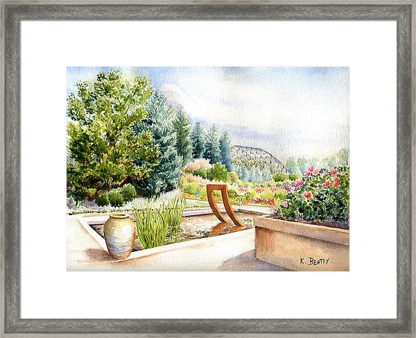 Sculpture Pool At Denver Botanic Gardens Framed Print