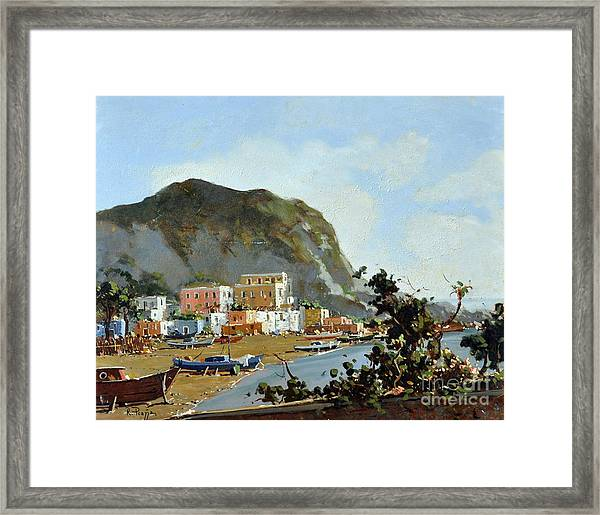 Framed Print featuring the painting Sea And Mountain With Boats by Rosario Piazza