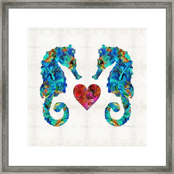 Sea Lovers - Seahorse Beach Art By Sharon Cummings Framed Print