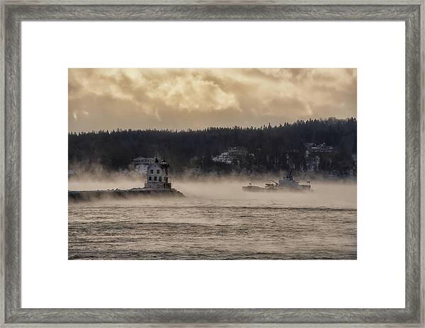 Sea Smoke At Rockland Breakwater Light Framed Print