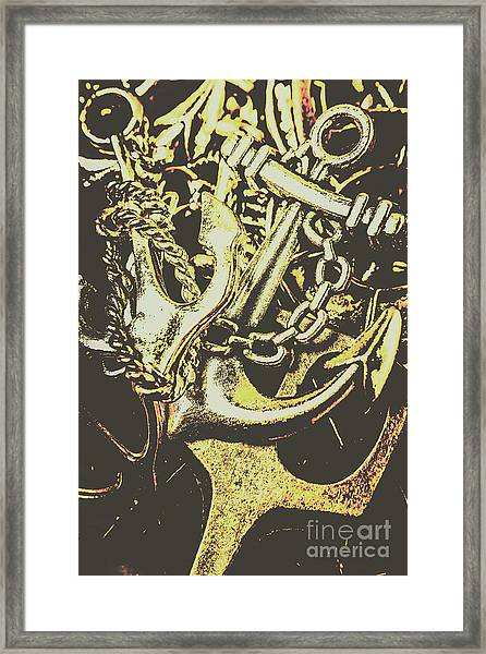 Sea Tides And Maritime Anchors Framed Print
