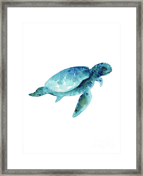 Sea Turtle Abstract Painting Framed Print