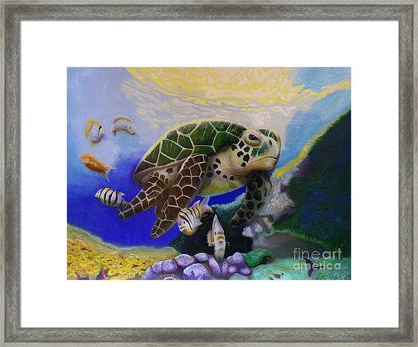 Sea Turtle Acrylic Painting Framed Print
