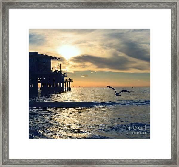 Seagull Pier Sunrise Seascape C2 Framed Print
