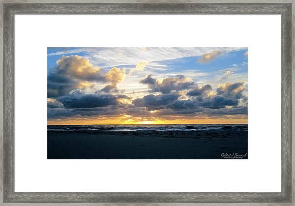 Seagulls On The Beach At Sunrise Framed Print