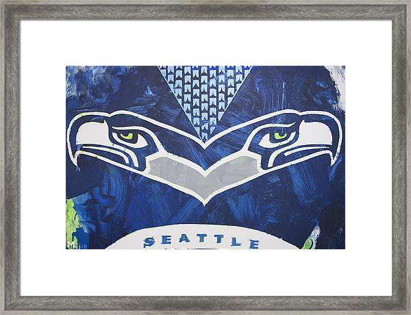 Framed Print featuring the painting Seahawks Helmet by Candace Shrope