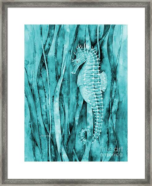 Seahorse On Blue Framed Print