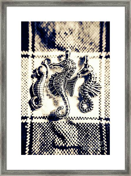 Seahorses In Blue Framed Print