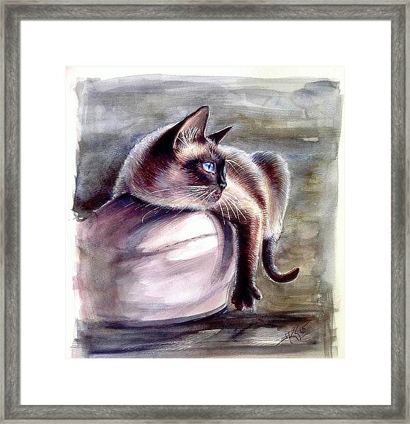 Framed Print featuring the painting Siamese Cat 2 by Katerina Kovatcheva