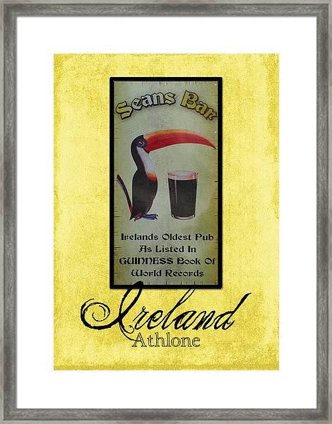 Seans Bar Guinness Pub Sign Athlone Ireland Framed Print