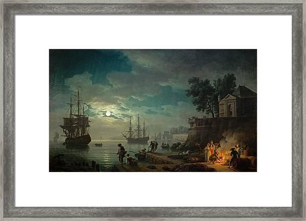 Seaport By Moonlight Framed Print