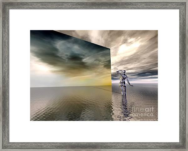 Framed Print featuring the digital art Searching by Sandra Bauser Digital Art