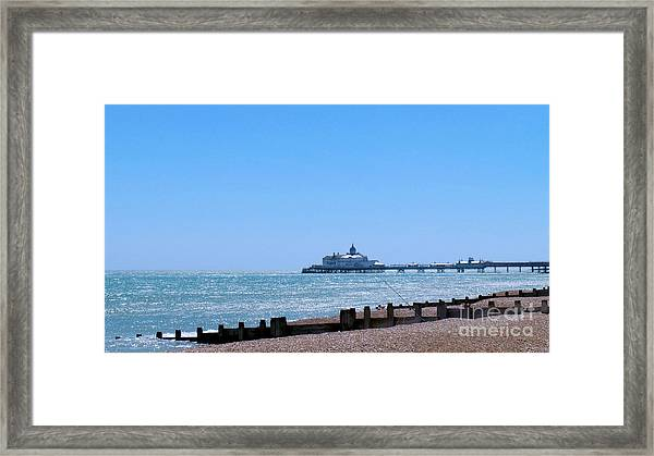 Seaside And Pier Framed Print
