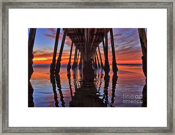Seaside Reflections Under The Imperial Beach Pier Framed Print