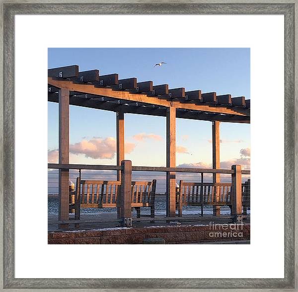 Seaside Seating  Framed Print
