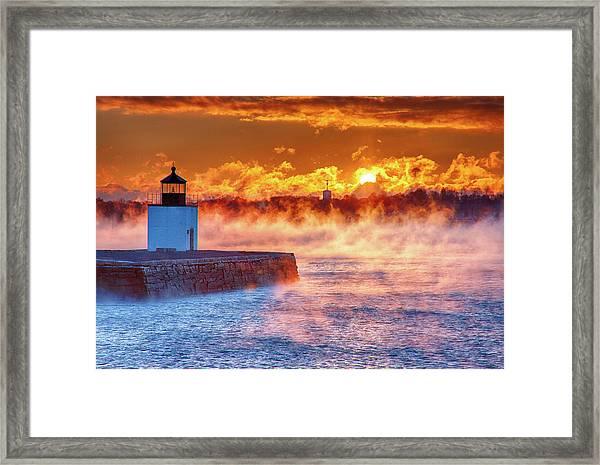 Seasmoke At Salem Lighthouse Framed Print