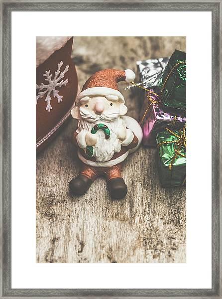 Seasons Greeting Santa Framed Print