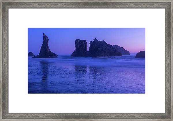 Seastack Sunset In Bandon Framed Print