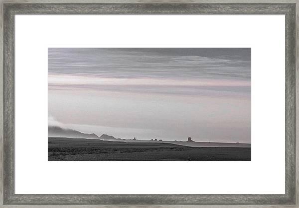 Seastacks In Fog Framed Print