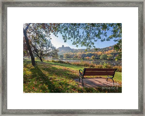 Framed Print featuring the photograph Seat With A View Oil Painting Style by Kari Yearous