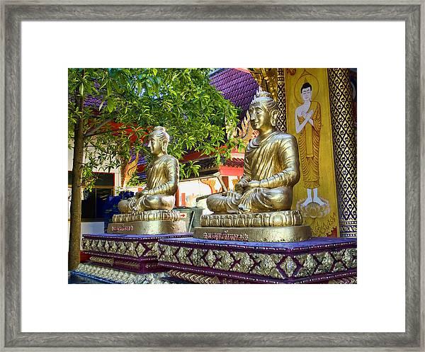 Seated Buddhas Framed Print