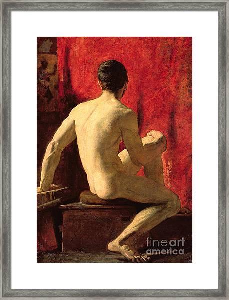 Seated Male Model Framed Print
