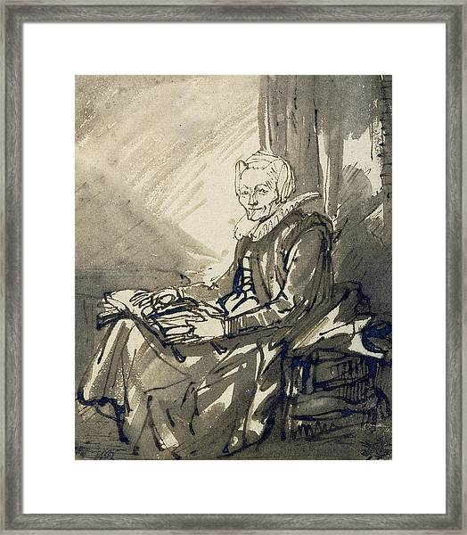 Seated Woman With An Open Book On Her Lap Framed Print