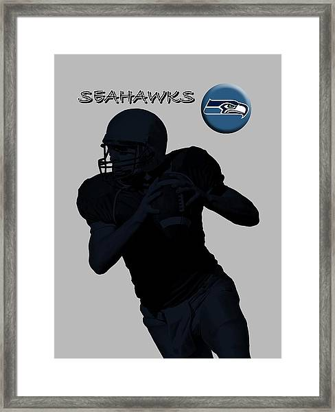 Framed Print featuring the digital art Seattle Seahawks Football by David Dehner