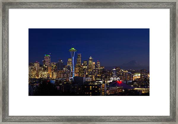 Seattle Seahawks Space Needle Framed Print
