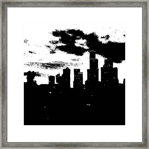 Seattle Skyline In B&w #enlight Framed Print