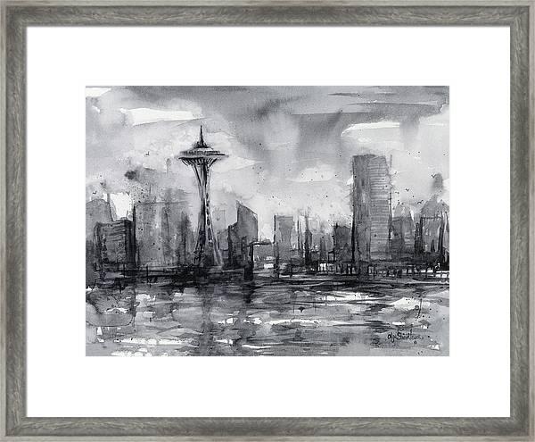 Seattle Skyline Painting Watercolor  Framed Print